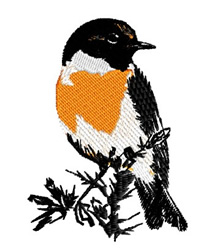 Stonechat embroidery design