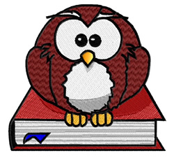 Owl On A Book embroidery design
