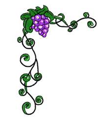Grape Corner Frame embroidery design