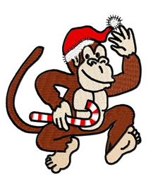 Monkey With Santa Hat embroidery design