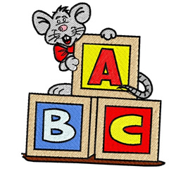 Mouse With ABC Blocks embroidery design