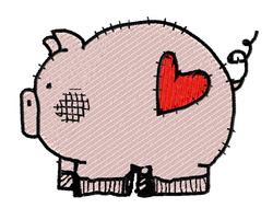 Pig With Heart embroidery design