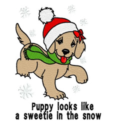 Sweetie In The Snow embroidery design
