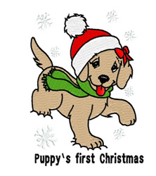 Puppys First Christmas embroidery design