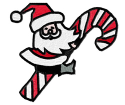 Santa On Candy Cane embroidery design