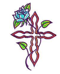 Cross And Rose embroidery design