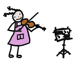 Stick Girl With Violin embroidery design