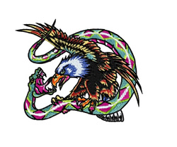 Eagle with Snake Prey embroidery design