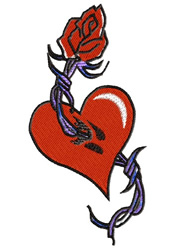 Heart With Barbwire embroidery design