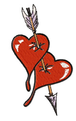 Hearts With An Arrow embroidery design