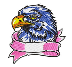 Eagle Head with Banner embroidery design