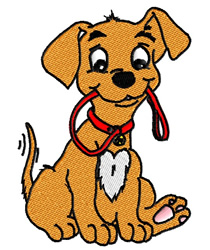 Dog Holding His Leash embroidery design