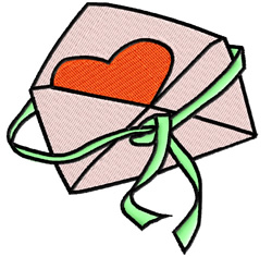Heart In An Envelope embroidery design