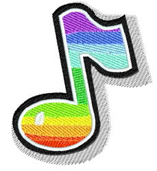 Colorful Musical Note embroidery design