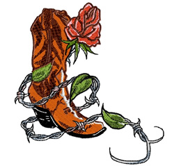 Cowboy Boot With Rose embroidery design