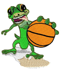 Gecco With Basketball embroidery design
