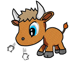 Baby Bull embroidery design