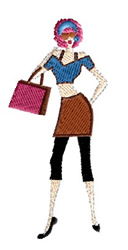 Shopping Lady embroidery design