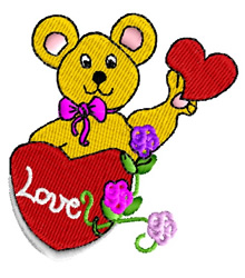 Valentine Teddy embroidery design