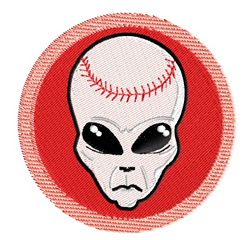Baseball Alien embroidery design