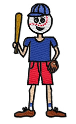 Boy With Baseball Head embroidery design