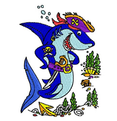 Shark Pirate embroidery design