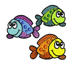 Three Spotted Fish embroidery design