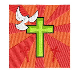 Easter Cross And Dove embroidery design