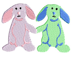 Bunnies Holding Hands embroidery design