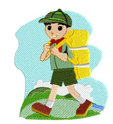 Boy With Back Pack embroidery design
