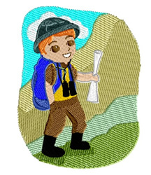 Boy Hiking embroidery design