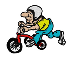 Guy On A Tricycle embroidery design