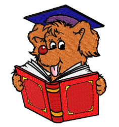 Puppy In Graduation Cap embroidery design