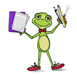 Frog With School Supplies embroidery design