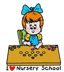 I Love Nursery School embroidery design