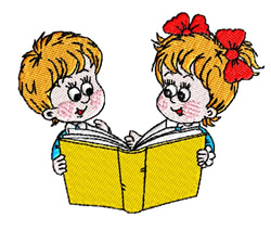 Boy And Girl Reading embroidery design