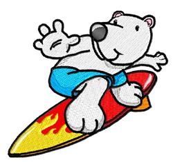 Polar Bear On Surfboard embroidery design