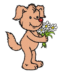 Dog Holding Daisies embroidery design