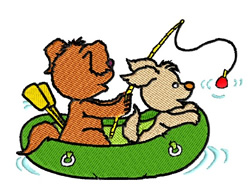 Two Puppies Fishing embroidery design