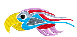 Colorful Tribal Bird embroidery design