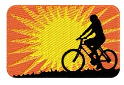 Bicyclist At Sunset embroidery design