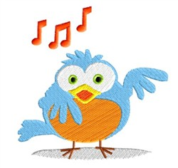 Musical Bluebird embroidery design
