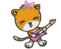 Tiger Playing Guitar embroidery design