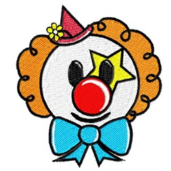 Clown With Blue Bow embroidery design