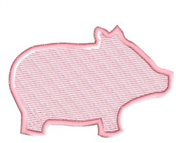 Pig Silhouette embroidery design