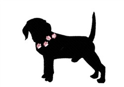 Beagle With Paw Prints embroidery design