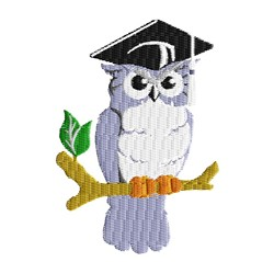 Graduation Owl embroidery design