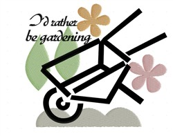 Id Rather Be Gardening embroidery design