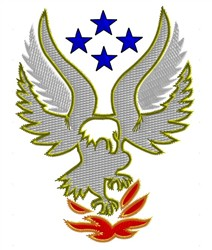 Eagle With Fire embroidery design