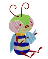 Cute Reading Bug embroidery design